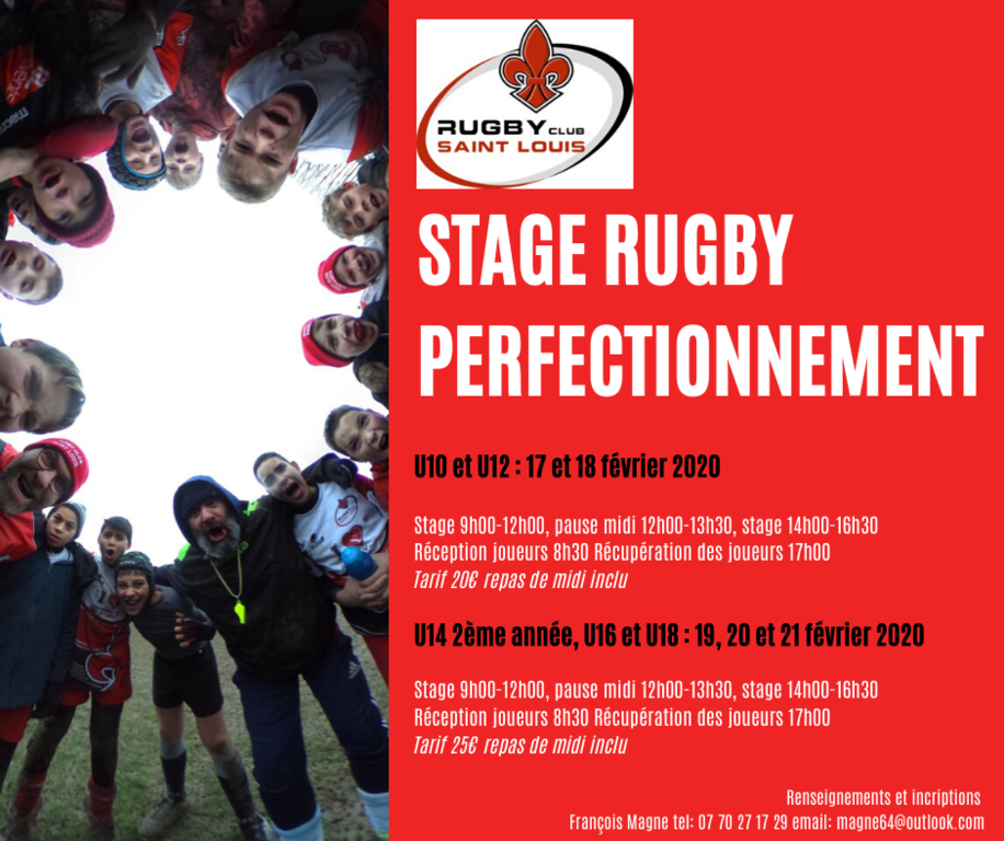 STAGE RUGBY PERFECTIONNEMENT FEVRIER 2020